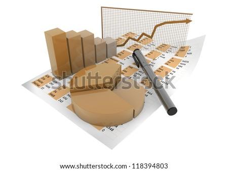 render of graphics over spreadsheet - stock photo