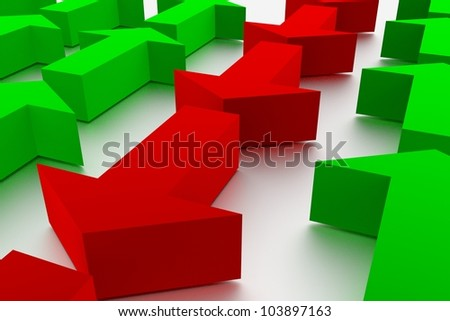 Render of green and red arrows - stock photo