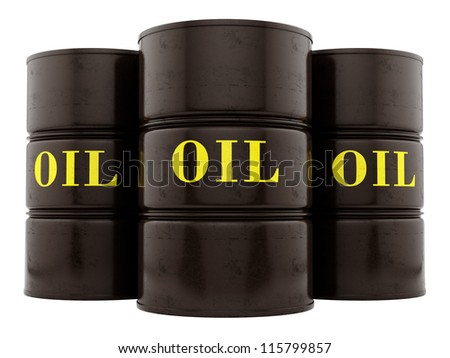 render of oil barrels, isolated on white - stock photo
