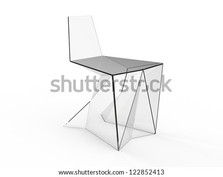 render of Origami concept chair on a white background - stock photo