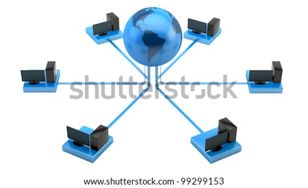 render of PCs connected to the internet - stock photo