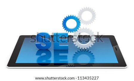 render of SEO on a tablet PC, isolated on white - stock photo