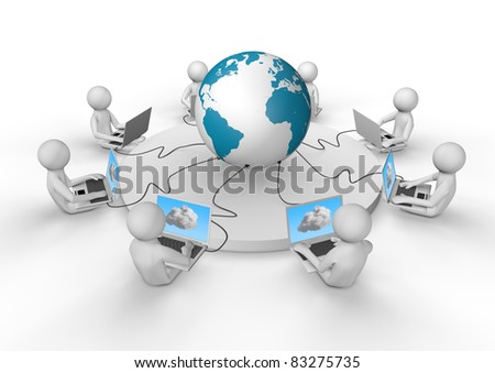 render of several laptops connected by wire to the internet and the cloud - stock photo