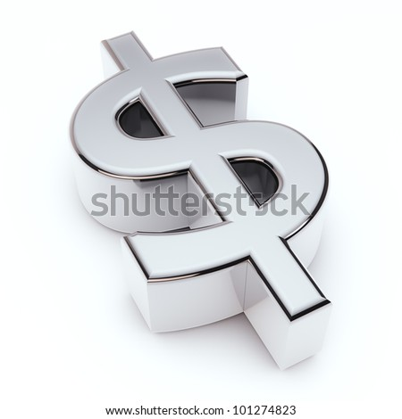 render of silver dollar symbol isolated on white - stock photo