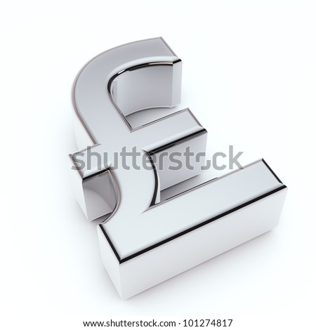 render of silver sterlin symbol isolated on white - stock photo