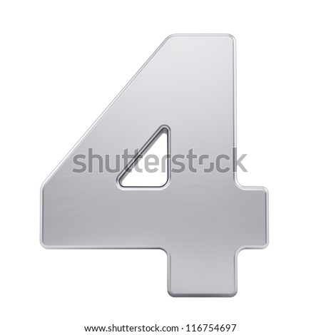 render of the number 4 with brushed metal texture, isolated on white - stock photo