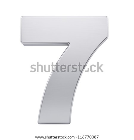 render of the number 7 with brushed metal texture, isolated on white - stock photo