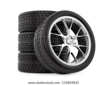render of wheels, isolated on white - stock photo