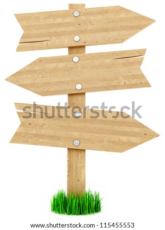 render of wood signs, isolated on white - stock photo