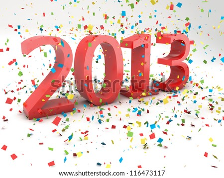 render pf a 2013 red Christmas text with a lot of colorful confetti - stock photo