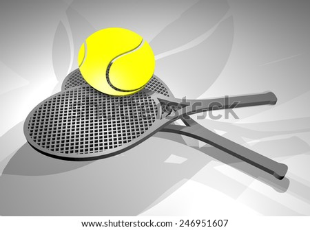 render tennis rackets - stock photo