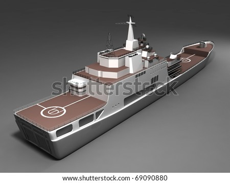 Rendered battleship - stock photo