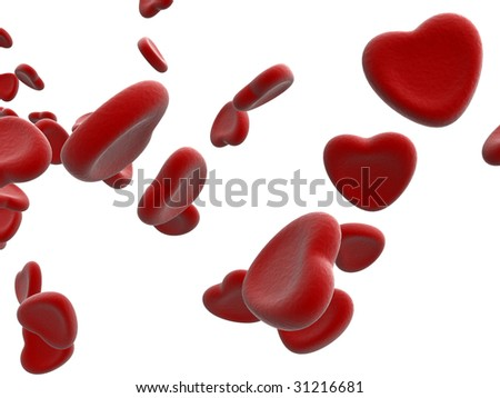 rendered blood cells on white - stock photo