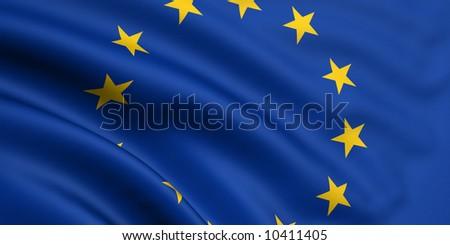 Rendered european union flag - stock photo
