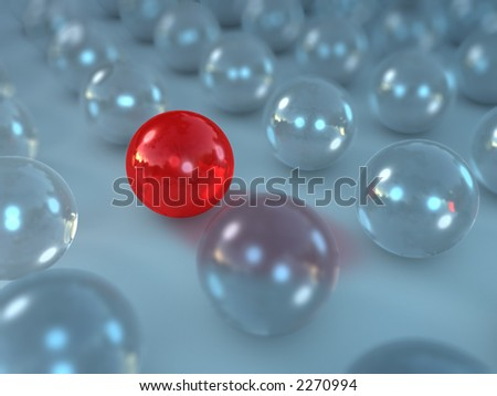 rendered glass spheres with one different in between - stock photo