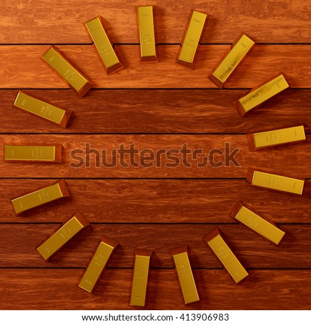 rendered gold bars in circle shape on the planks view from above, 3d rendering - stock photo