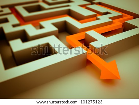 rendered image of an arrow inside a labyrinth - stock photo