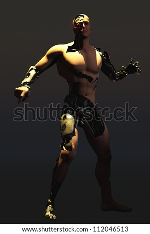 Rendered image showing mechanical man of human appearance with skin removed in places to reveal the machinery underneath - stock photo