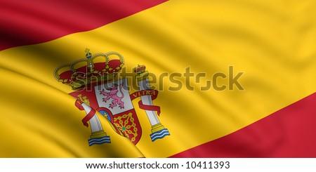 Rendered spain flag - stock photo