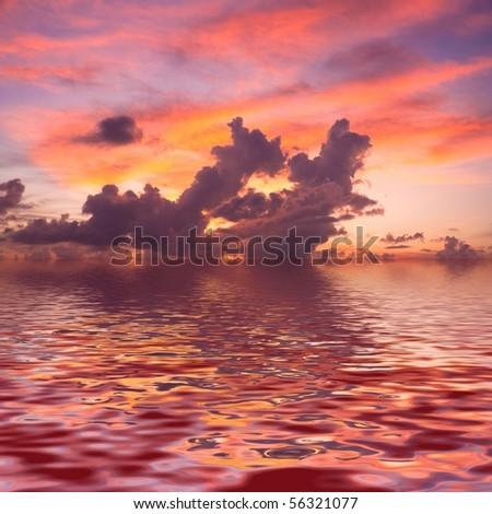 Rendered Sunset - stock photo