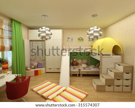rendering - children room with two beds - stock photo
