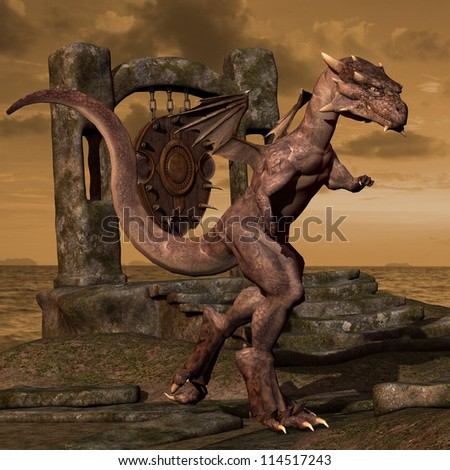 rendering dragon on Dragon Nest - stock photo