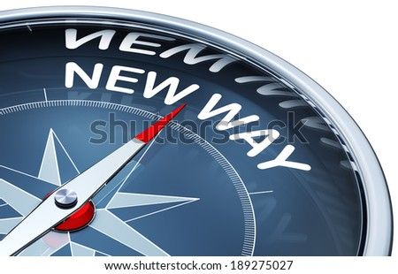 rendering of a compass with a new way icon - stock photo