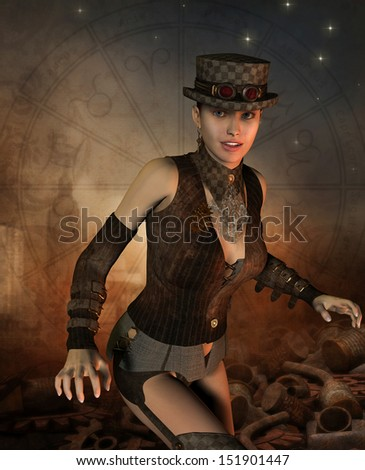 Rendering of a friendly girl in steampunk look - stock photo