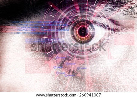 rendering of a futuristic cyber eye with laser bright light effect - stock photo