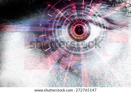 rendering of a futuristic cyber eye with red laser light effect - stock photo