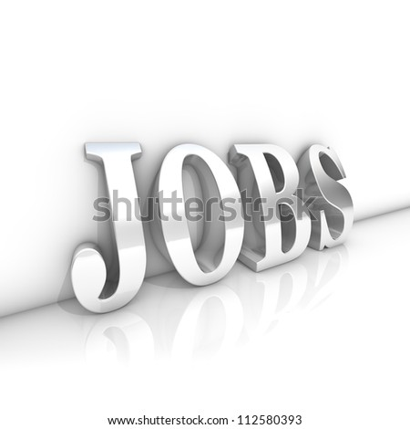 Rendering of a jobs text in a room - stock photo