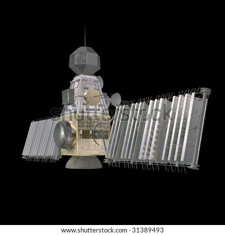 rendering of a military space satellite With Clipping Path over black - stock photo
