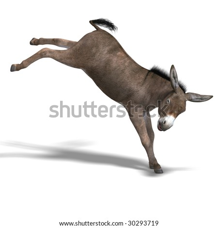 Rendering of a mule with Clipping Path over white - stock photo
