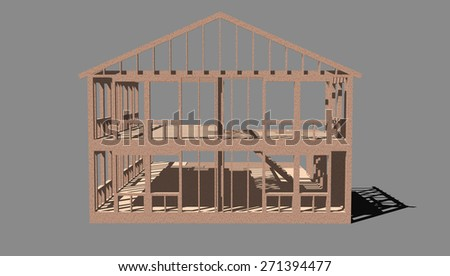 rendering of a partially completed house frame - stock photo