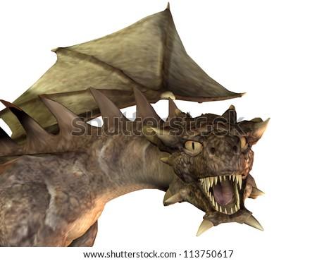 Rendering of a roaring dragon head - stock photo