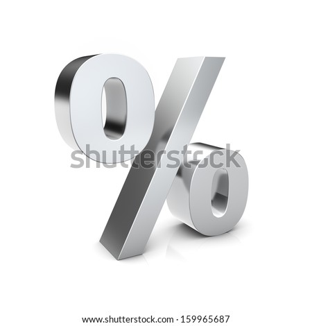 Rendering of a silver percent sign on a reflective ground - stock photo