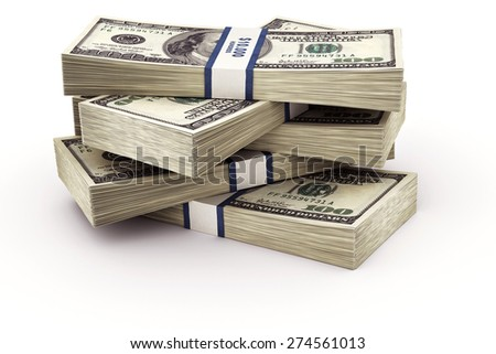 Rendering of a stack of 100 dollar bills - stock photo
