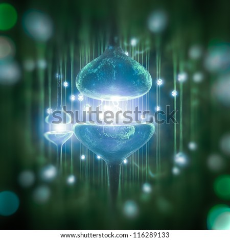 Rendering of a synapse - stock photo