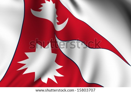 Rendering of a waving flag of Nepal with accurate colors and design and a fabric texture. - stock photo