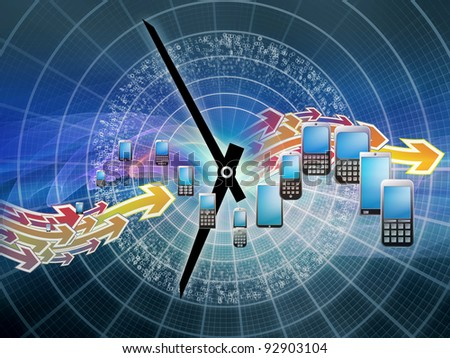 Rendering of cellular phones, clocks and abstract design elements on the subject of phone technology, cellular communication and modern electronic gadgets - stock photo