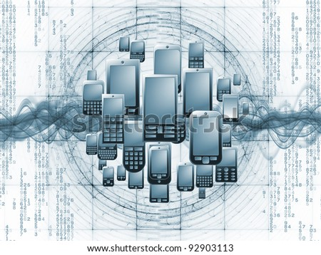 Rendering of cellular phones, numbers and abstract design elements on the subject of digital phone technology, cellular communication and modern electronic gadgets - stock photo