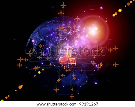 Rendering of city light map (courtesy of NASA), abstract lights and symbols on the subject of global transportation, travel, mail and shipping - stock photo