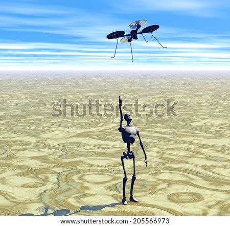 rendering of drone and manikan - stock photo
