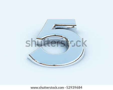 rendering of metallic number five on light background - stock photo