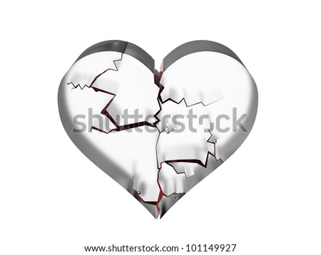 Rendering of shattered heart in glass - stock photo