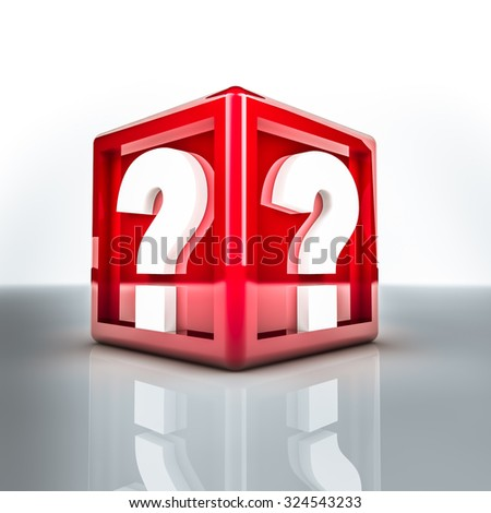 Rendering of two question mark on a red cube - stock photo