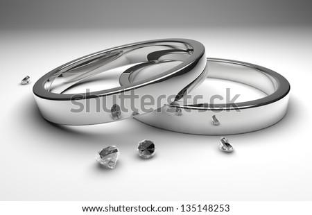 rendering whit silver wedding rings wiht diamond - stock photo