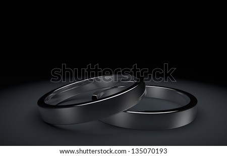 rendering white silver wedding rings - stock photo