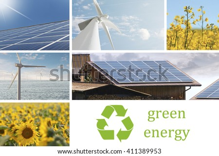 Renewable energies collage with windmill, photovoltaic panel, rapeseed flowers and sunflowers for the ecologic energy production - stock photo