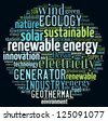 Renewable energy concept in word collage - stock photo